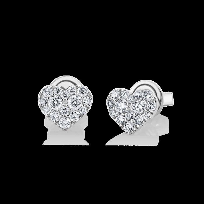 18K White Gold Heart Diamond Cluster Earrings