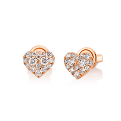 18K Pink Gold Heart Diamond Cluster Earrings