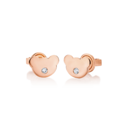 14K Pink Gold Bear Diamond Earrings