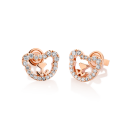 18K Pink Gold Bear Diamond Earrings