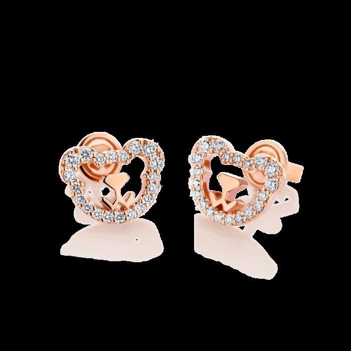 18K Pink Gold Bear Diamond Earrings