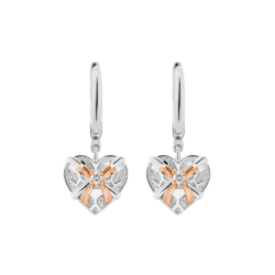 Silver & 14K Gold Diamond Heart Gift Box Leverback Earrings