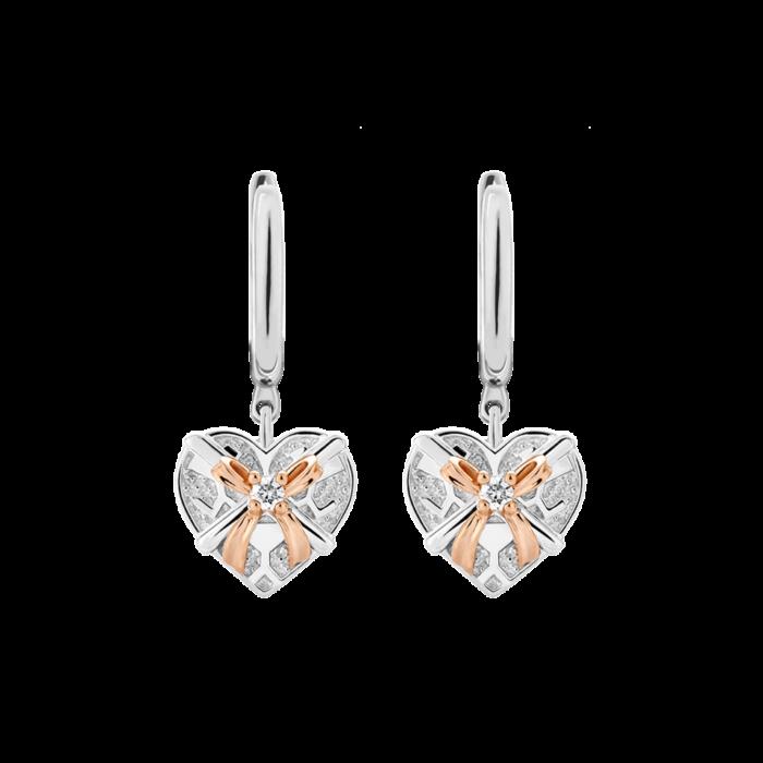 Silver & 14K Gold Diamond Heart Gift Box Leverback Earrings