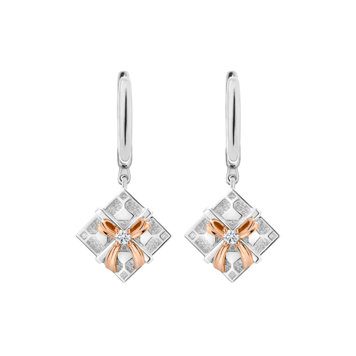 Silver & 14K Gold Diamond Square Gift Box Leverback Earrings
