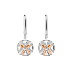 Silver & 14K Gold Diamond Round Gift Box Leverback Earrings