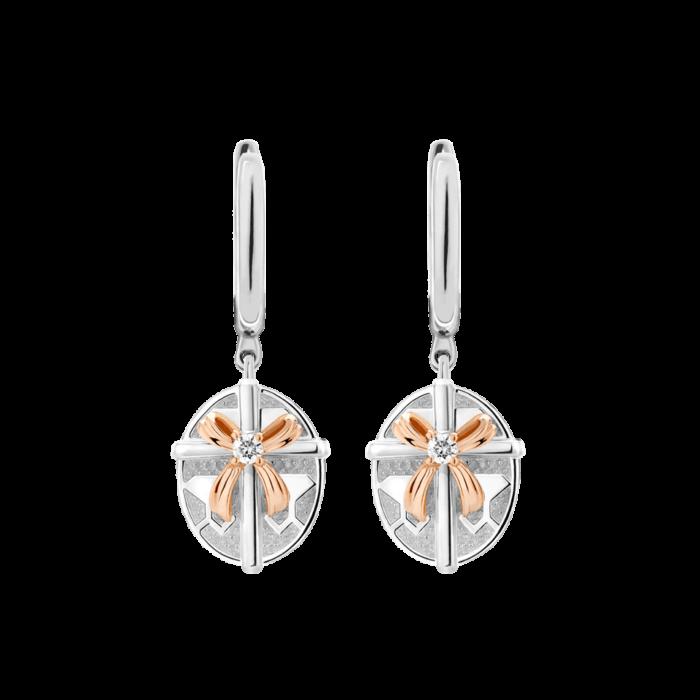 Silver & 14K Gold Diamond Oval Gift Box Leverback Earrings