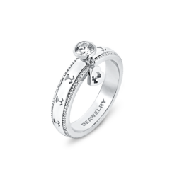 18K White Gold Diamond Ring & Dangling Envelop