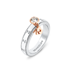 18K Two-tone Gold Diamond Ring & Dangling Heart