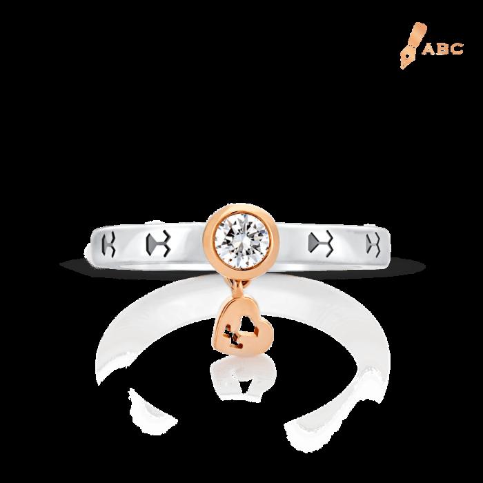 18K Two-tone Gold Diamond Ring & Dangling Heart
