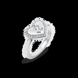 18K White Gold Diamond Heart Ring