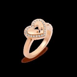 18K Pink Gold Diamond Heart Ring