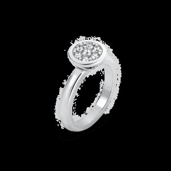 18K White Gold Round Diamond Cluster Ring
