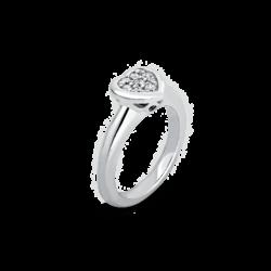 18K White Gold Heart Diamond Cluster Ring