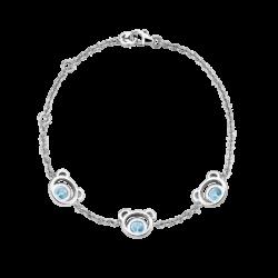 Silver Mini Bear Blue Topaz Bracelet