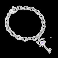 Silver Bear Key Amethyst Bracelet