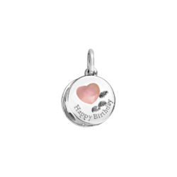 Silver Pink Opal Birthday Cake Charm