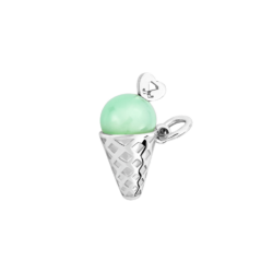 Silver Ice Cream Cone Charm with Chrysoprase Stone
