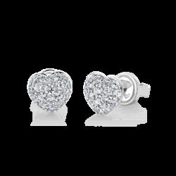 Silver Heart CZ Earrings
