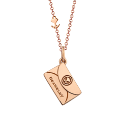 "18K Pink Gold ""Only You"" Diamond Envelope Pendant"
