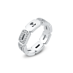 18K White Gold Diamond Hexagon Eternity Band Ring