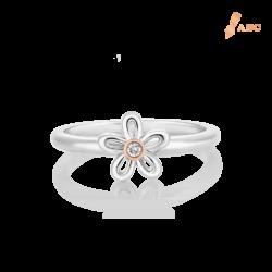 Silver & 14K Gold Flower Diamond Ring