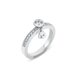 18K White Gold Diamond Ring & Dangling Heart