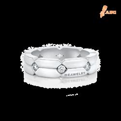 18K White Gold Diamond Double Shank Eternity Band Ring