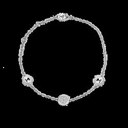 18K White Gold Round Diamond Cluster Bracelet