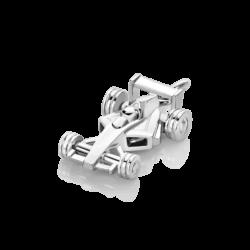 Silver Racing Car Charm