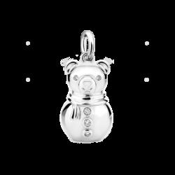 Silver Snowman CZ Charm