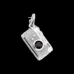 Silver Rangefinder Camera Charm