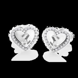 18K White Gold Heart Diamond Earrings