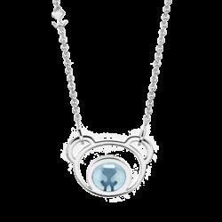 Silver Bear Blue Topaz Pendant