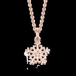 18K Pink Gold Beawelry Snowflake Diamond Pendant