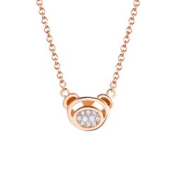 18K Pink Gold Bear Diamond Cluster Pendant