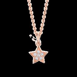 18K Pink Gold Star Diamond Cluster Pendant