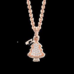 18K Pink Gold Christmas Tree Diamond Pendant