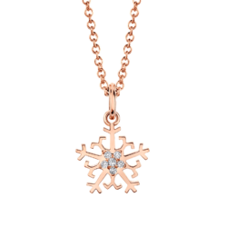 18K Pink Gold Snowflake Diamond Pendant