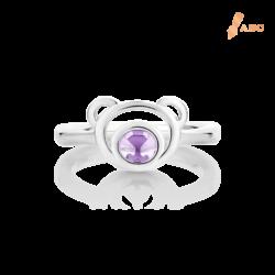 Silver Natural Amethyst Bear Ring