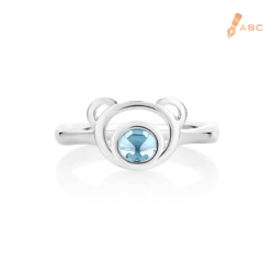 Silver Natural Light Blue Topaz Bear Ring