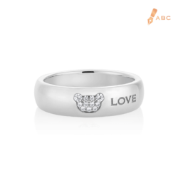 Silver CZ Bear & Love Band Ring
