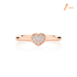 18K Pink Gold Diamond Heart Ring