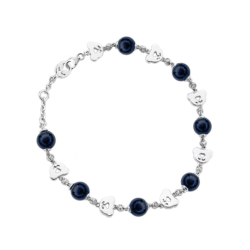 Silver Bear CZ & Onyx Bead Bracelet