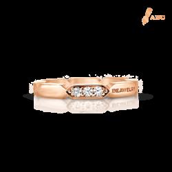 18K Pink Gold Diamond Band Ring