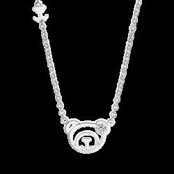 Silver April Birthstone White CZ Bear Pendant