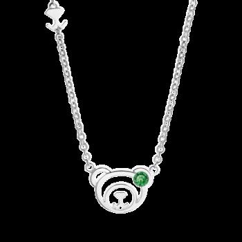 Silver May Birthstone Emerald Color CZ Bear Pendant