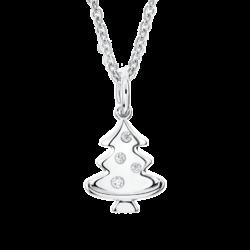 Silver Christmas Tree CZ Pendant