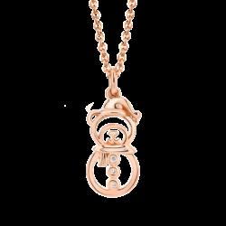 18K Pink Gold Snowman Diamond Pendant