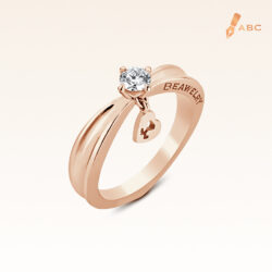 18K Pink Gold Diamond Ring & Dangling Heart