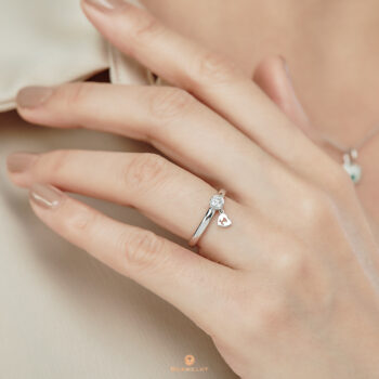 18K White Gold Diamond Ring & Dangling Heart